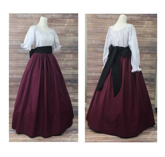 Civil War Victorian Maid Prairie Pioneer Dress Theater Reenactment Costume 128