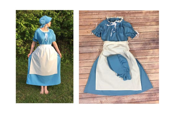 Dress And Apron No Bonnet Girls Pioneer Trek Colonial Etsy