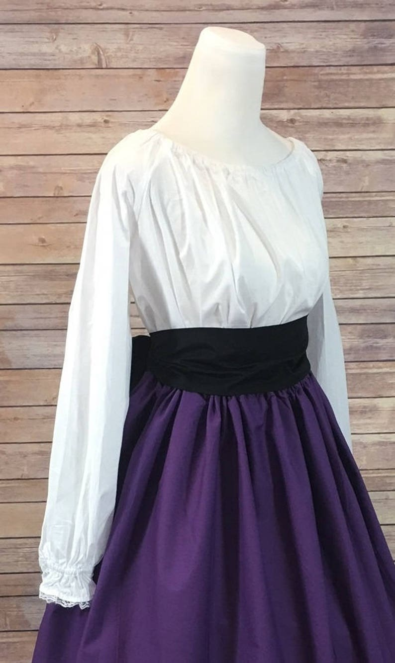 Victorian Clothing, Costumes & 1800s Fashion Complete Outfit - Skirt Blouse and Sash - Renaissance Civil War Victorian Southern Belle LARP Cosplay Medieval Pioneer Dress Costume $54.78 AT vintagedancer.com