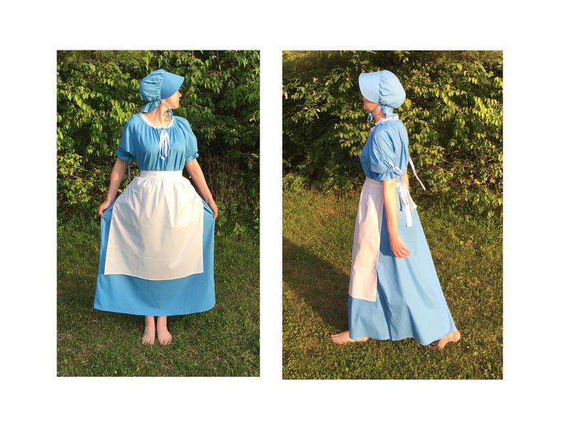 Women/'s Colonial Pioneer Prairie Civil War Dress Apron Bonnet