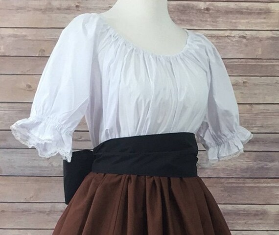 Complete Outfit-Skirt Blouse and Sash-Brown Renaissance Civil War Victorian Southern Belle LARP Cosplay Medieval Pioneer Dress Costume