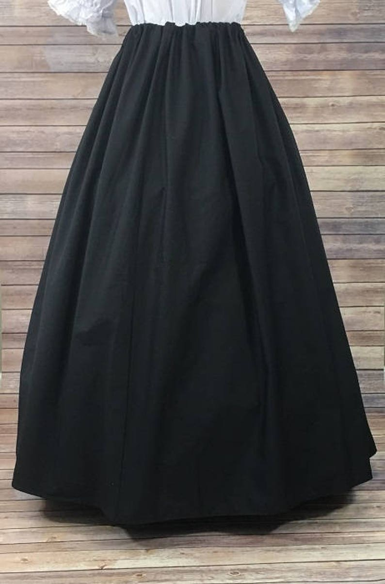 Steampunk Skirts | Bustle Skirts, Lace Skirts, Ruffle Skirts     Read the full title    Skirt Only-Renaissance Civil War Victorian Southern Belle LARP Cosplay Dickensonian Pioneer - black - full maxi skirt dress costume  AT vintagedancer.com