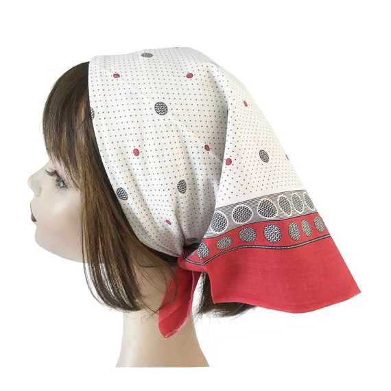 "Bandana 20.7"" x 24.4"" antique cotton head scarf VI"