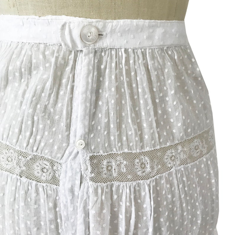 Victorian lace skirt slip Size XSS white muslin mousseline transparent VINTAGE ca 1910s