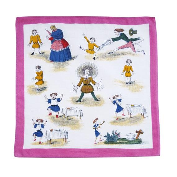 Hankie childrens VINTAGE handkerchief childrens education Struwwelpeter Strubelpeter German 1940s 11.8
