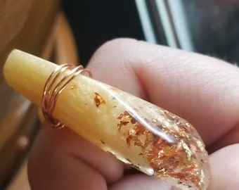 gold and copper handmade resin statement ring
