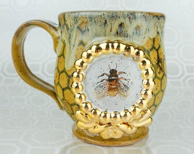 Handmade Queen Bee Pottery Mug