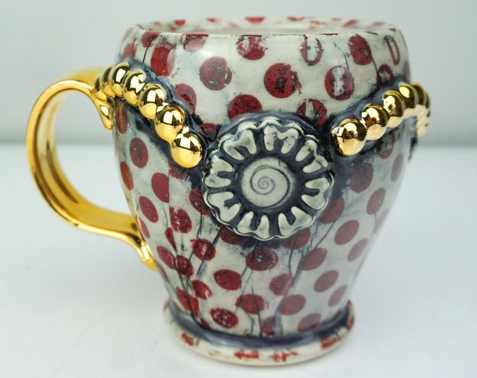 Handmade Red Dot Deco Pottery Mug