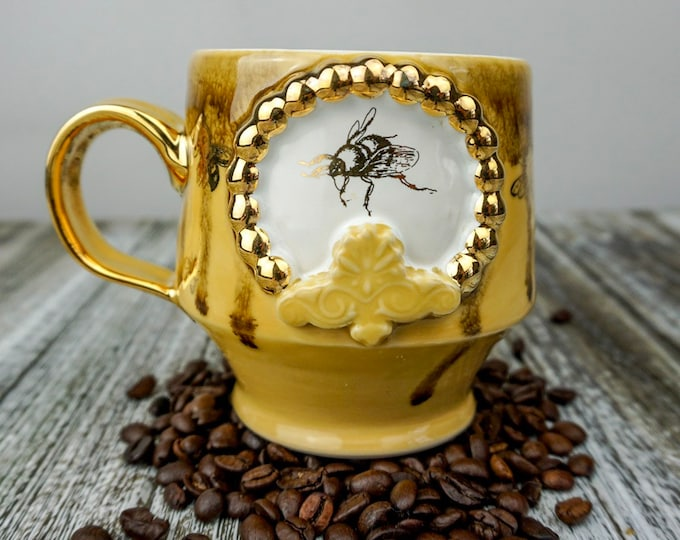 Handmade Queen Bee Pottery Mug