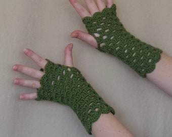 Olive Green Crochet Fingerless Gloves