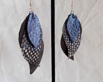 Brown, Navy Blue and Holographic Metallic Leather Drop Curve Earrings