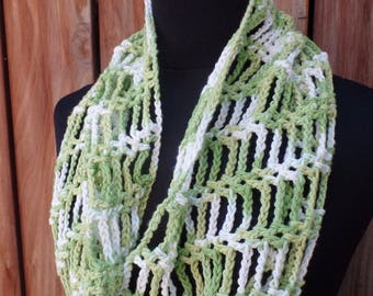 Lime Green Crochet Cotton Infinity Scarf
