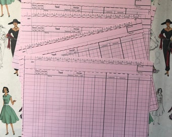 12 bank/accounting papers, pink, vintage