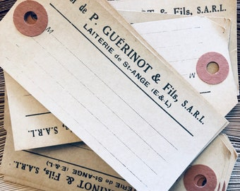 Vintage French manilla tags, ephemera, old paper tags