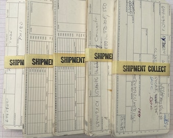 Vintage index cards from wild construction factory