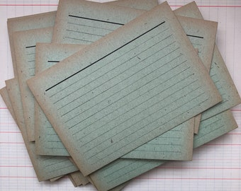 6 green Vintage Index Cards from DDR. Great for making (art) journals etc. Vintage index cards,vintage book cards.