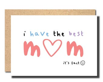 mother's day card, the best mum card, funny card for mum, i love you mum card, mother's day handmade, mum card floral, card for mama