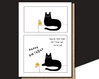 Personalised Birthday Card Funny Cat For Sister Friend Brother
