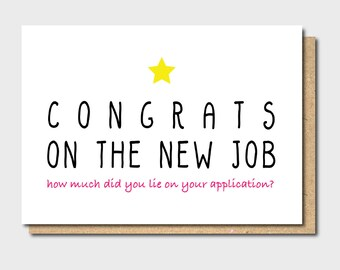 Funny New Job Card Leaving Card Congratulations Card | Etsy