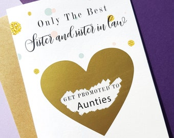 PA56 only the best sisters get promoted to auntie Pregnancy Pregnancy announcement Card Pregnancy announcement Scratch off card