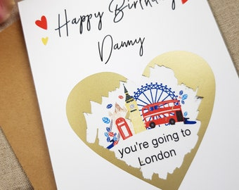 Youre Going To London Card Birthday Scratch Off Personalised Funny Custom