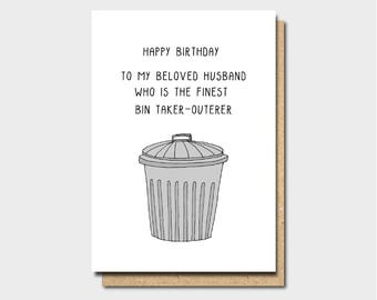 Happy Birthday Husband Card For Funny Bin Taker