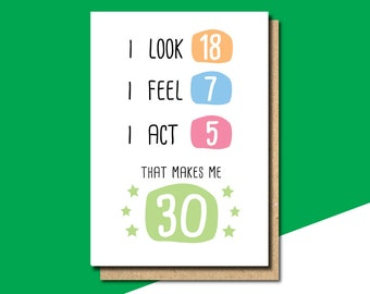 30th Birthday Card Funny Gift Friend Mum Sister Withpuns