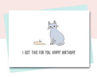 Funny Birthday Card Friend Cat Animal Lover Happy Sister Colleague