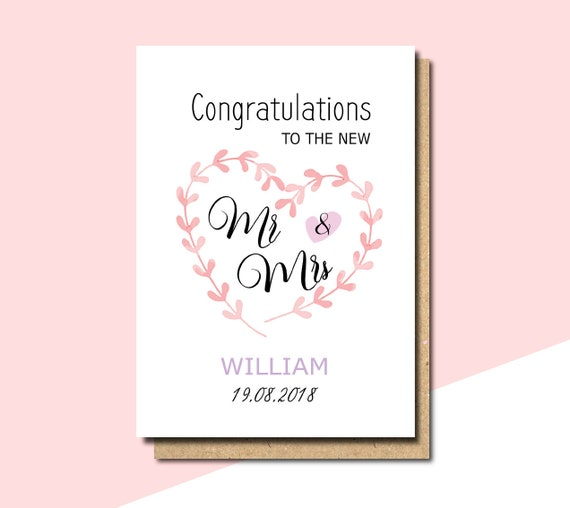 Mr & Mrs Wedding Card, Personalized Wedding Card, Congratulations Wedding Card, Newly Married Couple Greeting Card, Personalised Wedding