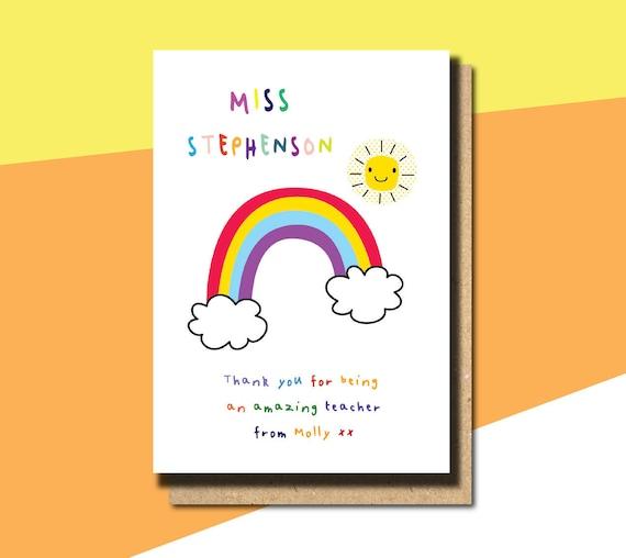 Personalised Thank you Teacher card Teaching Assistant Nursery School Rainbow