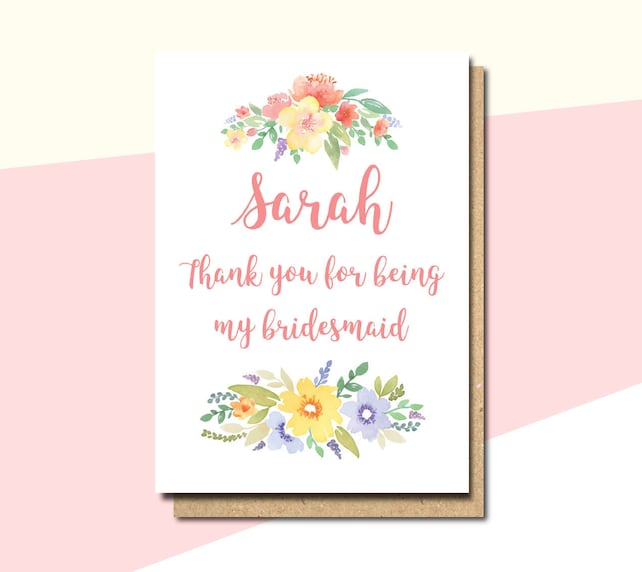 Thank you card for bridesmaid, bridesmaid card, card for bridesmaid, thank you flower girl card, thank you for maid of honour card, withpuns