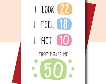 50th Birthday card, Funny Birthday card, 50th Birthday gift, 50th birthday Friend Card, 50th birthday mum, 50th birthday sister, withpuns