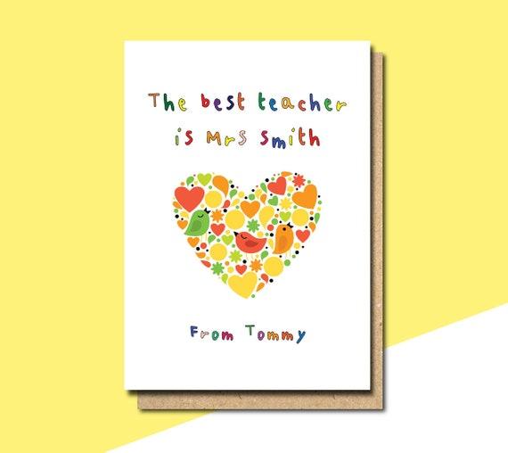 personalisierte Lehrer Dankeschön-Karte Karte für | Etsy