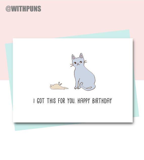 Funny Birthday Card Friend Cat Animal