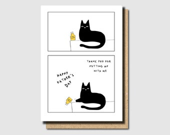 fathers day card funny, fathers day card cat, the best cat dad card, the best dog card, funny father's day card, card for daddy, withpuns