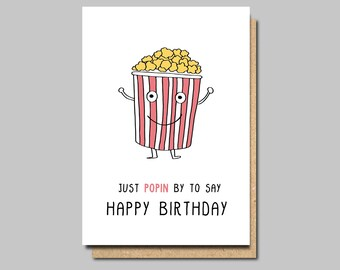 funny birthday card, popcorn card, happy birthday card, birthday card funny, birthday cards, friend birthday card, friend birthday funny