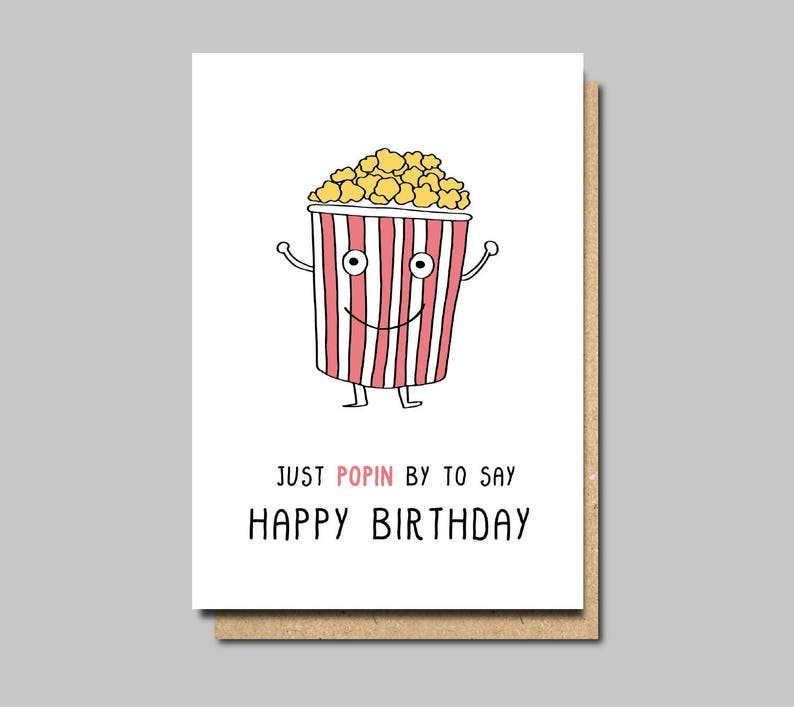 Funny Birthday Card Popcorn Happy