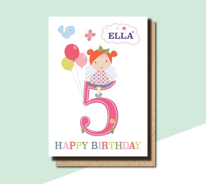 5TH Birthday Card Girl Daughter