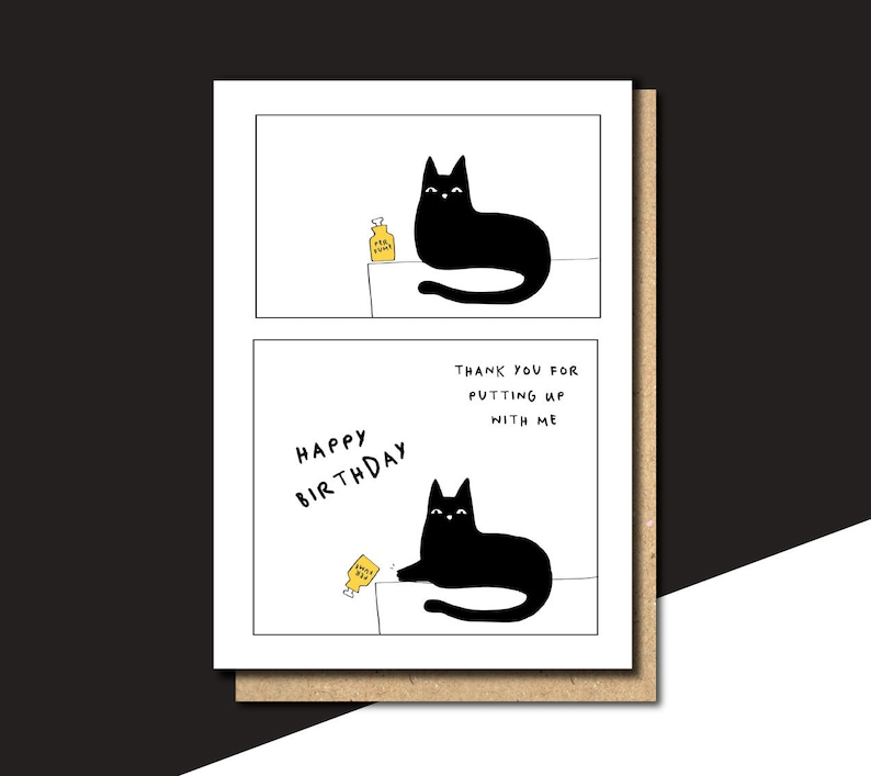 Personalised Birthday Card Funny Cat