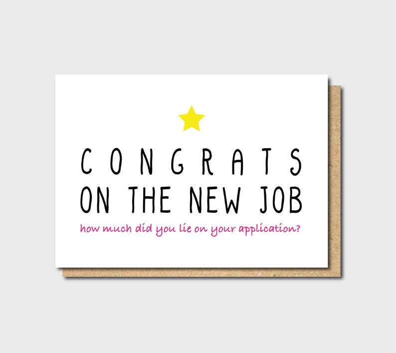 Funny New Job Card Funny Farewell Card Funny Good Luck