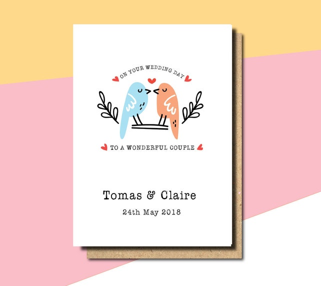 personalised wedding card for bride and groom, card for daughter and son in law, personalised wedding card, wedding cards personalised,