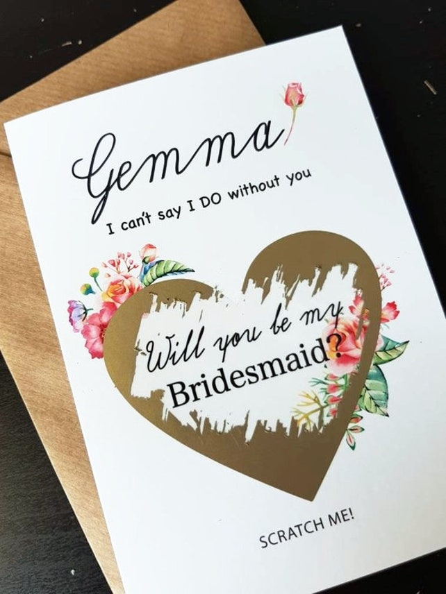 bridesmaid scratch off card, flower girl card, Will you be my bridesmaid card, bridesmaid cards, personalised bridesmaid card,