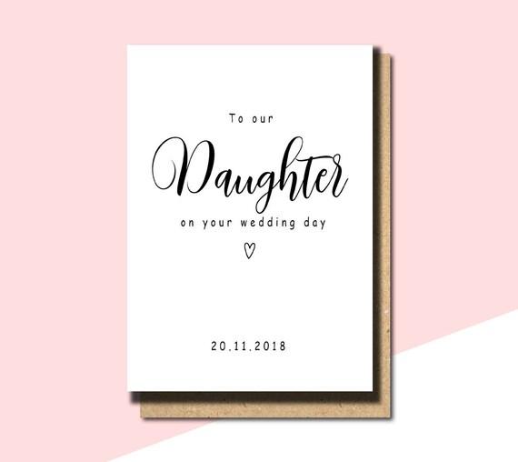 Naar Onze Dochter Op Uw Trouwdag Kaart Voor Dochter Op Wedding Day Card Bruiloft Gepersonaliseerde Kaart Dochter Wedding Card Wd15