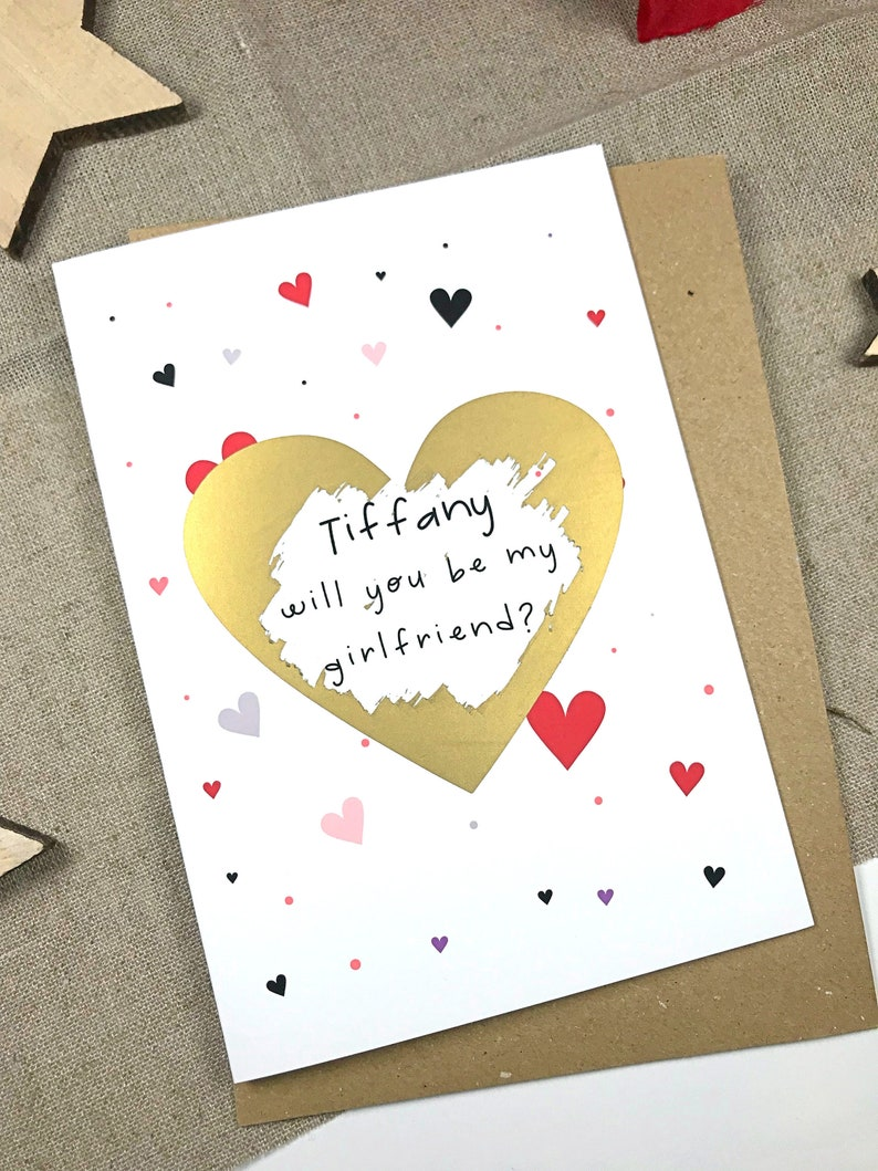 Will you be my girlfriend card proposal card be my   Etsy