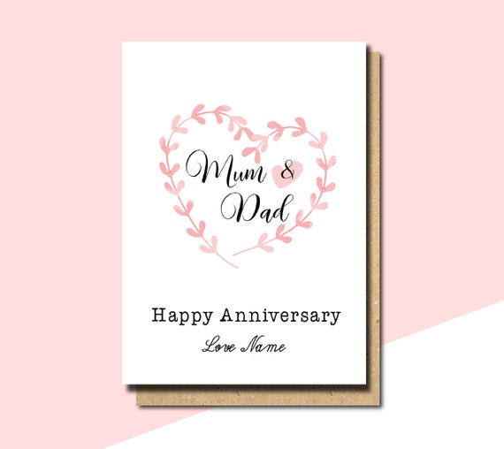 Anniversary card mum and dad parents anniversary card mom etsy image 0 m4hsunfo
