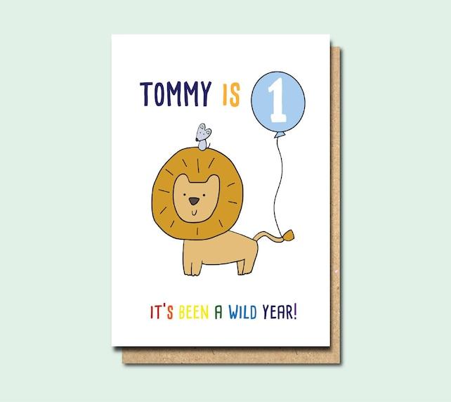 1st Birthday Card Personalised Girl Boy Cad Niece