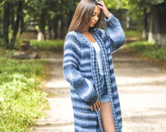 knitted women mohair cardigan, very pretty and casual cardigan, handmade work