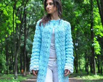 Knitted women lace cardigan, gradient color, handmade work, very soft cardigan for women