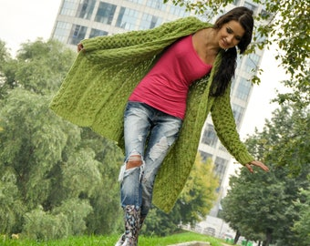 Knitted a women tweed cardigan, handmade work knit cable cardigan
