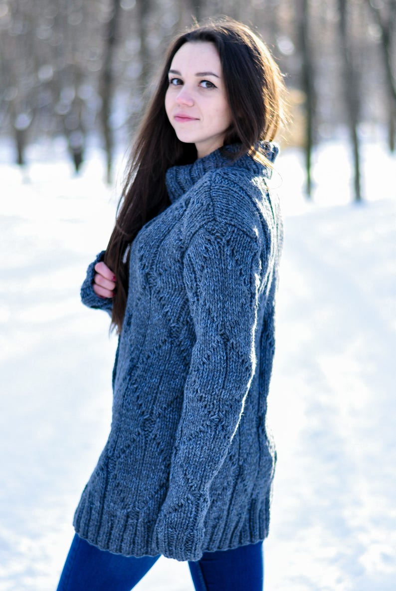woman knitted winter jacket gray color handmade